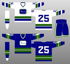 """Vancouver Canucks - The """"stick-in-rink"""" logo becomes a little more squat, more closely resembling the actual dimensions of a hockey rink. Also, the jersey stripes change, and the """"V"""" inside the sleeve stripes disappears. Ice Hockey Teams, Hockey Players, Hockey World, Nhl Jerseys, Western Conference, Team Uniforms, Vancouver Canucks, National Hockey League, Sports Logos"""