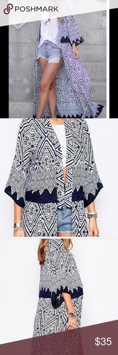 """Geometric Print Chiffon Kimono Duster Coverup Chiffon Kimono duster coverup features navy blue and white geometric print with 3/4 sleeves. Length 50"""". This style kimono does not close in front. It's more of an open style.  NWOT, unbranded. Size S. Swim Coverups"""