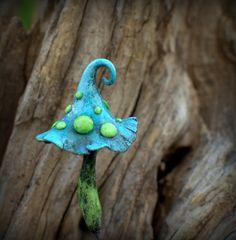 Light blue green fairy garden fantasy mushroom  polymer by Petradi