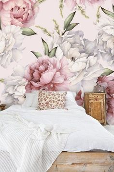 Large Peony Flower Removable Wallpaper, Peel and Stick Watercolor Floral Mural Wallpaper Nursery Girl, Wall Decal Bedroom Modern #185 Bedroom Wallpaper Murals, Old Wallpaper, Wall Decals For Bedroom, Self Adhesive Wallpaper, Wall Murals, Washable Paint, Focal Wall, Thing 1, Bedroom Modern