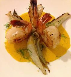Fennel Flower Crystals Dusted Shrimp, Roasted Fennel with Saffron Vanilla Sauce by Savory Sweet Living