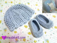 Free hat and booties crochet pattern.