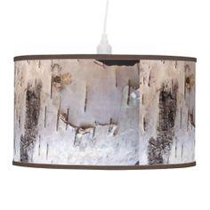 birch bark pendant lamp
