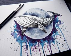 tattoo sketch watercolor moon whale