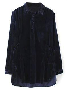 Mini Velvet Tunic Dress - PURPLISH BLUE M