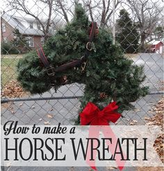Horse Head Shaped Greenery Wreath – Instructions to Make your Own – Hawk Hill Cowboy Christmas, Christmas Holidays, Christmas Wreaths, Christmas Horses, Winter Wreaths, Spring Wreaths, Summer Wreath, Xmas, Wreath Crafts