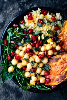 Continuing on the train of easy lunch ideas, these Moroccan(ish) lunch bowls with chickpeas, quinoa, sweet potato, and a killer orange g...