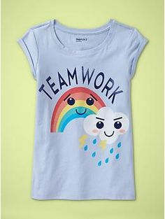 Teamwork rainbow t-shirt for girls from GAP kids, cute and positive message!