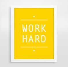 Work Hard Print Modern Office Decor Yellow Typography by evesand, $18.00