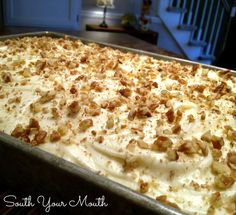 "PREACHER CAKE ""a super moist cake with crushed pineapple, pecans or walnuts and optional coconut with a cream cheese frosting and it is sooooo good""   SouthYourMouth.com"