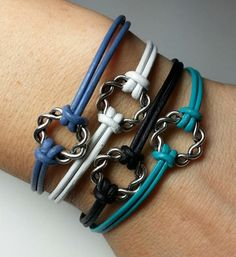 Karma knot leather bracelet, made by Dizzy Bees. Find Dizzy Bees on Facebook.