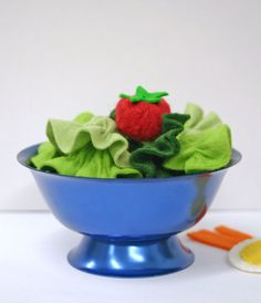 Wool Felt Play Food  - Dinner Salad by EvaLauryn on Etsy, $30.00 (15 pieces of lettuce and a tomato)