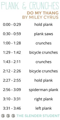 A fun ab workout set to Miley's new song! | The Slender Student