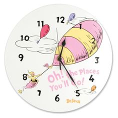 Dr. Seuss Pink OH! THE PLACES YOU'LL GO! 11-in. Wall Clock - 30357