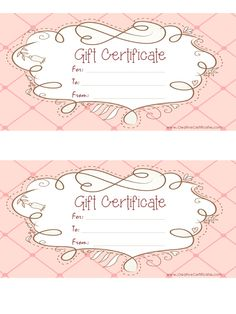 Free Printable Pink Gift Certificate With A Brown Drawing More  Certificates Free Download Free Printable