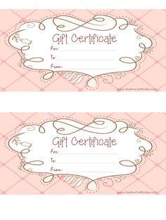 Free printable gift vouchers. Instant download. No registration ...
