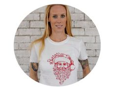 Women's Believe in Santa T Shirt, Cotton Crew Neck Ladies TShirt, Graphic Tee, Red and White, Christmas, Holiday, Winter