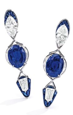 PAIR OF PLATINUM, SAPPHIRE AND DIAMOND EARRINGS by OLIVIER REZA