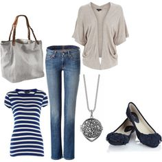 jeans, stripes, navy flats and a beige sweater...casual chic!