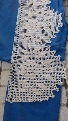 Crochet Bedspread, Crochet Curtains, Crochet Doilies, Crochet Books, Crochet Home, Baby Knitting Patterns, Crochet Patterns, Fillet Crochet, Crochet Borders