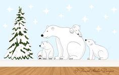 Polar Bear Nursery Wall Stickers by FunFriendsWallArt on Etsy, £124.95