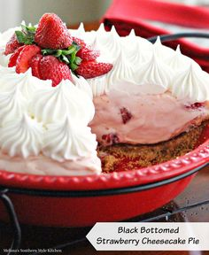 Black Bottomed Strawberry Cheesecake Pie - Frozen desserts are so ...