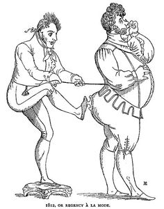 1812,  Early 19th century depiction of a man fastening another mans corset which were only worn by women at the time.