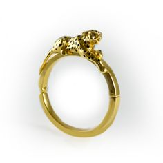 Gold Plated Leopard Bangle By Bill Skinner. Crafted in his Studio in the UK. Ethical Jewellery, British Jewellery.