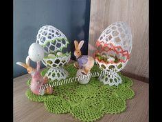Duże jajo łupinkowe, stroik na Wielkanoc na szydełku 15 cm - YouTube Easter Crochet, Crochet Crafts, Quilling, Easter Eggs, Tatting, Diy And Crafts, Dinosaur Stuffed Animal, Decorative Plates, Toys