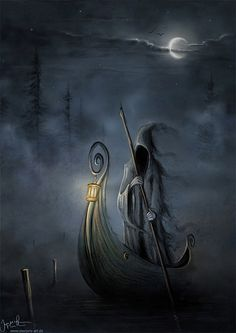 Charon is the ferryman of Hades who carries souls of the newly deceased across the rivers Styx and Acheron that divided the world of the living from the world of the dead. Grim Reaper Art, Don't Fear The Reaper, Death Reaper, Art Noir, Art Magique, Gothic Art, Dark Gothic, Gods And Goddesses, Halloween Art