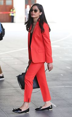 Freida Pinto from The Big Picture: Today's Hot Photos  Power suit! The actress rocks a bright and bold look while out and about in London.