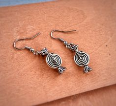 Silver Earrings, Silver Metal Charm Earrings, Homemade Jewelry, Silver Jewelry, Spiral Detailed Silver,Accessory Everyday Jewelry by FringeEmpire on Etsy