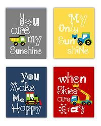 Construction Trucks You Are My Sunshine Art Prints for Kids Spaces!  Unframed
