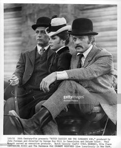 Paul Newman, Katharine Ross, and Robert Redford riding together in a scene from the film 'Butch Cassidy And The Sundance Kid', 1969.