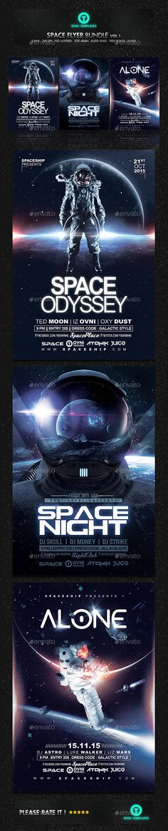 Space Futuristic Astronaut Flyer Template PSD 300 DPI Bundle #promote Download: http://graphicriver.net/item/space-futuristic-astronaut-flyer-bundle/13216697?ref=ksioks