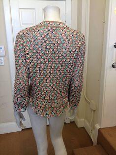 Oscar de la Renta Pink and Green Multicolored Crochet Cardigan image 5