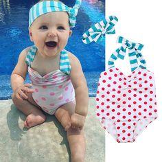 0f48b169bd434 ... baby swimsuit Suppliers: Cute Baby swimwear Bow knot headband Polka Dot swimsuit  bikini children swimwear girls bikini bathing suit one piece biquini
