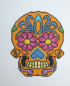 Orange sugar skull cross stitch pattern. Free