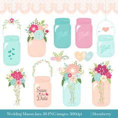 Mason Jar Clip Art - WEDDING MASON JAR - Clip art mason jar wedding invitation wedding floral clipart . 39 png images. (3.90 USD) by MoonberryDigitalArt