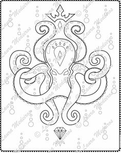 The Jewel And Crown Octopus Download ColoringPage By Zoeowyn Etsy 250 Tentacles