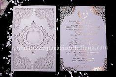 Laser Cut Wedding Invitations Foil Stamped by luxuryweddinvitation