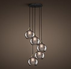 Over the kitchen table. 20th C. Factory Filament Smoke Glass Café Round Pendant