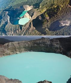 The lakes on the volcanic peaks are constantly changing color.  Image Source: Shutterstock