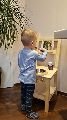 montessori children& kitchen with bowl - Nursery and kids room - . Montessori Toddler Rooms, Montessori Bedroom, Montessori Practical Life, Playroom Organization, Baby Kind, Baby Care, Kids Furniture, Kids And Parenting, Your Child