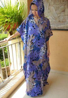 Purple hooded gauze kaftan, long caftan, sundress,  beach cover up, lounge wear, cruise wear, maternity wear. $41.99, via Etsy.