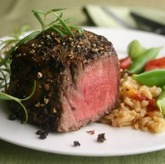 """Does this look like """"diet"""" food to you? Didn't think so... Filet Mignon with vegetable brown rice and rosemary. For Phase 1 of the #FastMetabolismDiet On of 40+ recipes included in the book."""