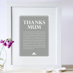 Personalised 'Thanks Mum' Print