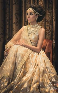 # Indian bride in a white and cream indian wedding dress