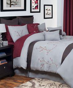 Look what I found on #zulily! Burgundy & Gray Grace 13-Piece Oversize Comforter Set #zulilyfinds