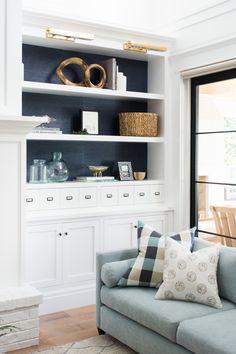 Built-in bookshelf details, family room design by Studio McGee Studio Mcgee, Studio Studio, Home Living Room, Living Room Furniture, Living Room Designs, Living Room Decor, Furniture Stores, Living Spaces, Bookshelves In Living Room